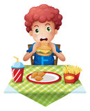 A curly-haired boy eating at a fastfood restaurant. Illustration of a curly-haired boy eating at a fastfood restaurant on a white background Royalty Free Stock Image