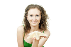 Curly-haired girl with starfish Stock Photos