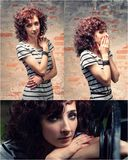 Curly haired redhead women posing outdoors Royalty Free Stock Photos