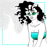 Curly haired woman in bikini. Tropical line art illustration of a curly haired woman. Graphics are grouped and in several layers for easy editing. The file can Stock Photography