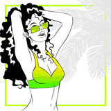 Curly haired woman in bikini. Tropical line art illustration of a curly haired woman. Graphics are grouped and in several layers for easy editing. The file can stock illustration
