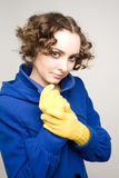 Curly-haired woman in coat Stock Image
