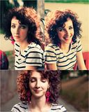 Curly haired women outdoors set of images Stock Image