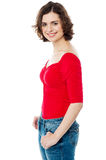 Curly haired young caucasian lady Stock Images