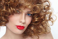 Curly hairstyle stock image