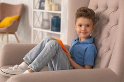Curly handsome boy sitting in armchair at home. Boy in armchair. Curly handsome dark-eyed boy feeling relaxed while sitting in armchair at home holding laptop in Stock Images
