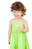 Curly happy little girl isolated on white Stock Photography