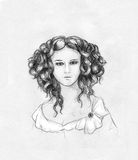 Curly-headed girl portrait. Pencil drawn sketch of a girl with beautiful curly hair. She also wears vintage dress Royalty Free Stock Photography