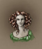 Curly-headed girl portrait - color Royalty Free Stock Photos