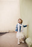 Curly hipster girl urban portrait Royalty Free Stock Photography