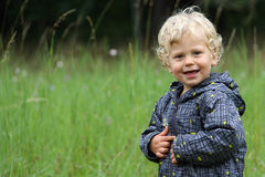 Curly kid by the green meadow in the autumn. Small curly boy in the wind-cheater by the high grass meadow royalty free stock photos