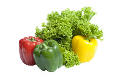 Curly Leaf Lettuce and three colorful paprika Stock Photo