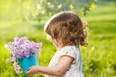 Curly little girl stock photos