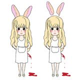 Curly Long Hair Girl with Rabbit Ears Holding Bloody Knife. Vector Illustration. isolated on White Background. Curly Long Hair Girl with Rabbit Ears Holding vector illustration