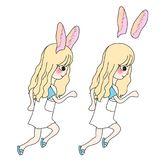 Curly Long Hair Girl with Rabbit Ears Running. Vector Illustration. vector illustration