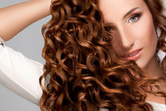 Curly Long Hair. High quality image. Royalty Free Stock Image