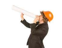 Curly Male Engineer Announcing Using Blueprint Royalty Free Stock Photo