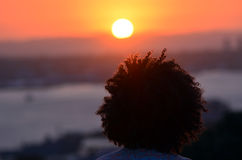 Curly man hair Royalty Free Stock Photography