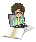 A curly man inside the laptop with an empty paper in front Royalty Free Stock Photo