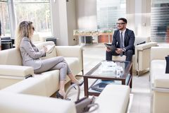 Conducting Negotiations with Business Partner Royalty Free Stock Photo