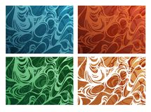 Curly pattern. Beautiful pattern . Drawing includes four color variations Royalty Free Stock Image