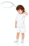 Curly pensive little girl isolated on white. With bubbles royalty free stock photo