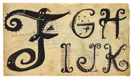 Curly Playful Alphabet - Hand Drawn Vector - Part: A-E Stock Photography