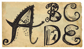 Curly playful alphabet - hand drawn vector - part: A-E Stock Images