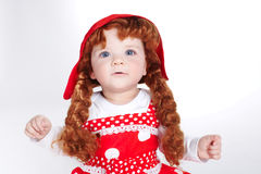 Curly red hair girl portrait Stock Photos