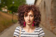 Curly red haired women closeup shot Stock Image