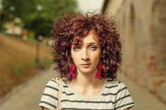 Curly red haired women closeup shot Stock Photo