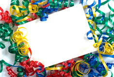 Curly ribbon Notecard. A notecard surrounded by primary colored curly ribbon, could be used for birthday, new years, school  or any celebration announcement Royalty Free Stock Images