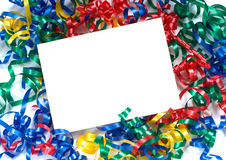 Curly ribbon Notecard. A notecard surrounded by primary colored curly ribbon, could be used for birthday, new years, school  or any celebration announcement Stock Photo