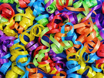 Curly Ribbons Background for Celebrations. Colorful curly ribbons for backgrounds for card making, scrap booking, stationery or web pages, advertising banners Stock Photography