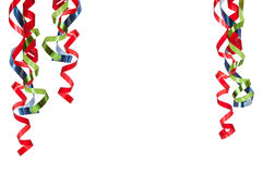 Curly ribbons on white stock images