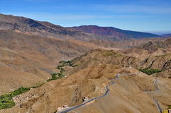 Curly road in the High Atlas mountains Royalty Free Stock Photography