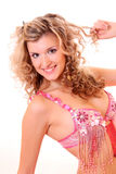 Curly smiling woman stock images