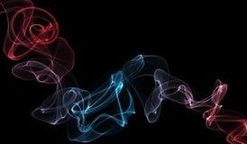 Curly smoke on black Stock Image