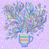 Curly and steamy tea party cup Stock Photos
