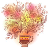 Curly and steamy tea party cup Royalty Free Stock Photography