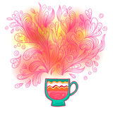 Curly and steamy tea party cup Royalty Free Stock Photo