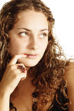 Curly in thoughts Stock Images