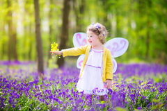 Curly toddler girl in fairy costume in bluebell forest. Adorable toddler girl with curly hair wearing a fairy costume with purple wings and yellow dress is Royalty Free Stock Photography