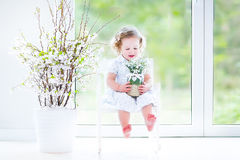 Curly toddler girl in white dress first spring flowers Royalty Free Stock Images