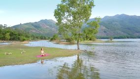 Curly tree reflection in lake girl sits on grass bank. Pictorial picture curly tree reflection on lake rippling water and girl sits on grass against green hills stock footage