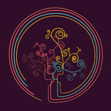 Curly tree silhouette design Royalty Free Stock Images