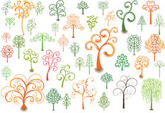 Curly trees. Set of stylized trees for design Royalty Free Stock Photo
