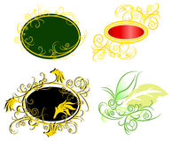 Curly vine fantasy badge set (vector) Stock Images