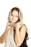 Curly in white headscarf Stock Photo