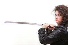 Curly woman curly girl and sword Royalty Free Stock Photo